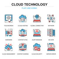 moln teknik ikonuppsättning vektor