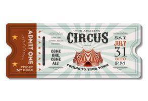 vintage cirkus biljett vektor