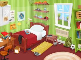 Vissa barn eller tonåring sovrum vektor