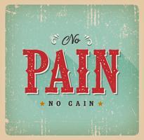 Kein Schmerz keine Gewinn-Retro Visitenkarte