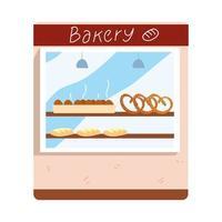 Bäckereifassadenladen mit gebackenem Brot und Brezeln vektor