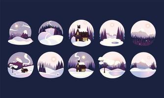 Winterlandschaftskreisrahmen mit Tannenbäumen und Schnee, Wald- und Landschaftshäuschen vektor