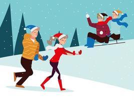 Weihnachtsleute Saison Winterfeier, Schlitten fahren und auf Schnee laufen vektor