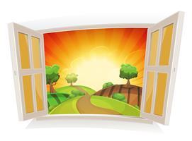 Geöffnetes Fenster auf einer ländlichen Landschaft des Sommers