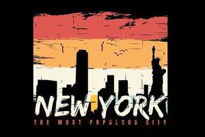 T-Shirt Silhouette New York City Retro-Vintage-Stil vektor
