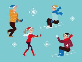 Weihnachtsleute, Männer, die Schlitten fahren, glücklicher Mann und Frau Jahreszeit Winter vektor