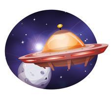 Främmande rymdskepp som reser på rymdbakgrund