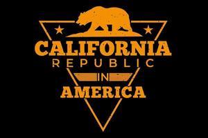 T-Shirt Kalifornien Republik Amerika Bär Vintage Style vektor
