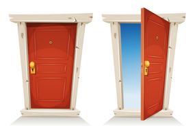 Röd dörr öppen och stängd