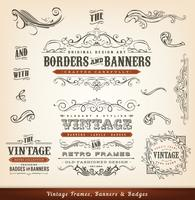 Vintage kalligrafiska ramar, banderoller och märken