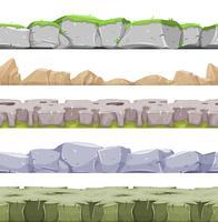 Nahtlose felsige Landschaft und steiniger Boden für Spiel Ui vektor