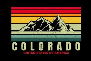 T-Shirt Colorado Mountain schöner Retro-Stil vektor