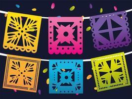 Tag der Toten, mexikanische Wimpel Dekorationsfeier vektor