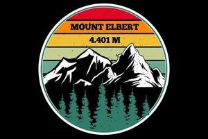 T-Shirt Berg Elbert Kiefer Retro Himmel Design vektor