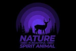 T-Shirt Natur ist schönes Geistertier-Design vektor