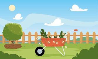 Hausgarten mit Schubkarre und Baumvektordesign vektor