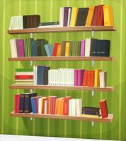 Tecknade bibliotekets bokhylla på väggen