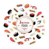 Hälsosam japansk mat bakgrund vektor