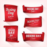 uppsättning boxning dag försäljning pergament och banners vektor