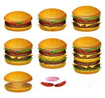 amerikanska hamburgare alla storlekar vektor