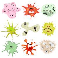 tecknad bakterier, virus och mikrober