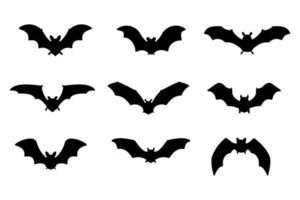 Fledermaus Vampir Vektor. gruselige Geisterfledermaus-Silhouette, die herausfliegt, um an Halloween Blut zu saugen. vektor