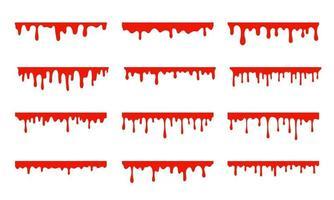 vergossenes Blut. eine rote klebrige Flüssigkeit, die Blut tropfte Halloween-Kriminalität-Konzept. vektor
