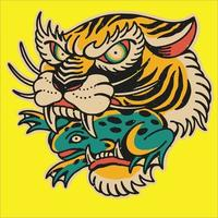Tiger, der Froschillustration isst vektor