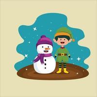 Weihnachten mit Schneemann und Elfencharakter-Vektorillustration vektor