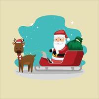 Weihnachten mit Weihnachtsmann-Charakter-Vektorillustration vektor