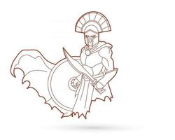 Umriss spartanischer Krieger römischer Gladiator vektor