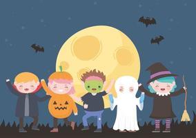 Fröhliches Halloween, Kostümfiguren Mama Kürbis Geist Dracula Hexe Zombie, Süßes oder Saures, Partyfeier vektor
