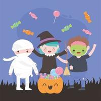 Fröhliches Halloween, Kostümfiguren Zombie-Mama-Hexe mit Kürbis und Süßigkeiten, Süßes oder Saures, Partyfeier vektor