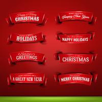 Samling av jul och nyårsbannare vektor