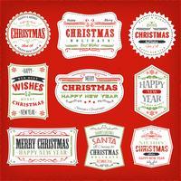 Vintage jul ramar, banderoller och märken vektor