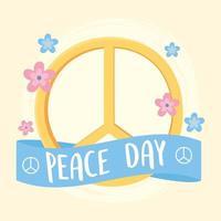Symbol des internationalen Friedenstages mit Blumendekoration vektor