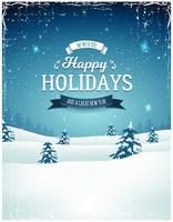 Vintage Holiday Season Landskap Bakgrund vektor