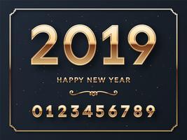 Vektor-Schablonen-Hintergrund des guten Rutsch ins Neue Jahr 2019