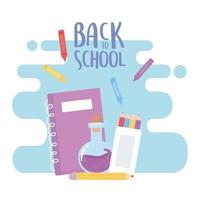 zurück zur Schule, Notebook Laborflasche Bleistift Farbe Bildung Cartoon vektor