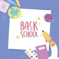 zurück zur Schule, Notizbuch Kreide Bleistift Papier lila Gitter Hintergrund Bildung Cartoon vektor