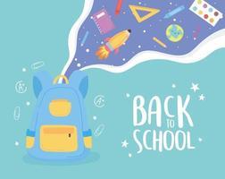 zurück zur schule, rucksack lernen elemente bildung cartoon vektor