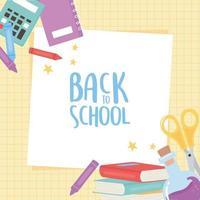 zurück zur Schule, Taschenrechner Schere Bücher Buntstifte Bildung Cartoon Gitter Hintergrund vektor