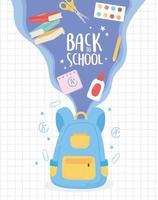 zurück zur Schule, Rucksack fliegende Bücher Kleber Schere Bildung Cartoon vektor