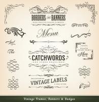 Vintage kalligrafiska ramar och banderoller