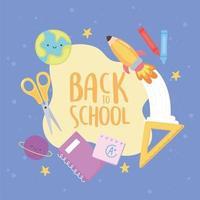 zurück zur Schule, Notebook Lineal Schere Rakete Planeten Lektion Bildung Cartoon vektor