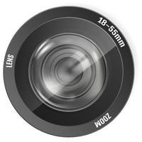modernes realistisches Fotoobjektiv Fotokameraobjektiv vektor