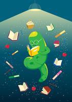 Bücherwurm-Welt vektor