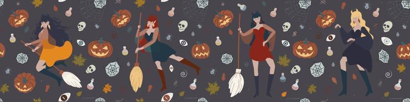 Banner mit einer Hexe, die auf einem Besen, Kürbissen, Tränken, Spinnen und Hexereielementen fliegt. Halloween-Vektor-flache Illustration vektor