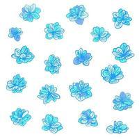 Vektor buntes Set mit blauen Frühlingsblumen. Clip-Art-Elemente für Postkarte, Banner, T-Shirt-Druck, Einladung, Grußkarte, Poster
