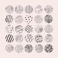 Vektor handgezeichnetes Set mit runden isolierten abstrakten schwarzen Mustern oder Hintergründen. verschiedene Doodle-Formen für Highlight-Cover, Poster, Social-Media-Icon-Vorlagen.